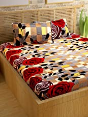 Story@Home Candy 120 TC Cotton Bed Sheet for Double Bed with 2 Pillow Cover Set - Geometric Vivid Roses, Queen Size, Brown and Red