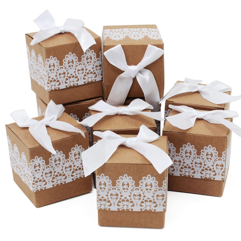 Carta Kraft Candy Gift Box Pillow box per matrimonio festa di compleanno 50PCS, Quadrato