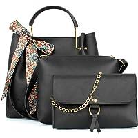 Mammon Women's Blue PU Leather Handbag Combo (3ribn-black-tie)