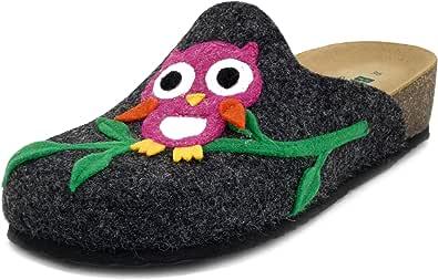 BioNatura, Pantofole Donna Ciabatte Invernali in Feltro Lana Grigio Scuro con Gufo Multicolore, Sottopiede Vera Pelle, 12GUFO