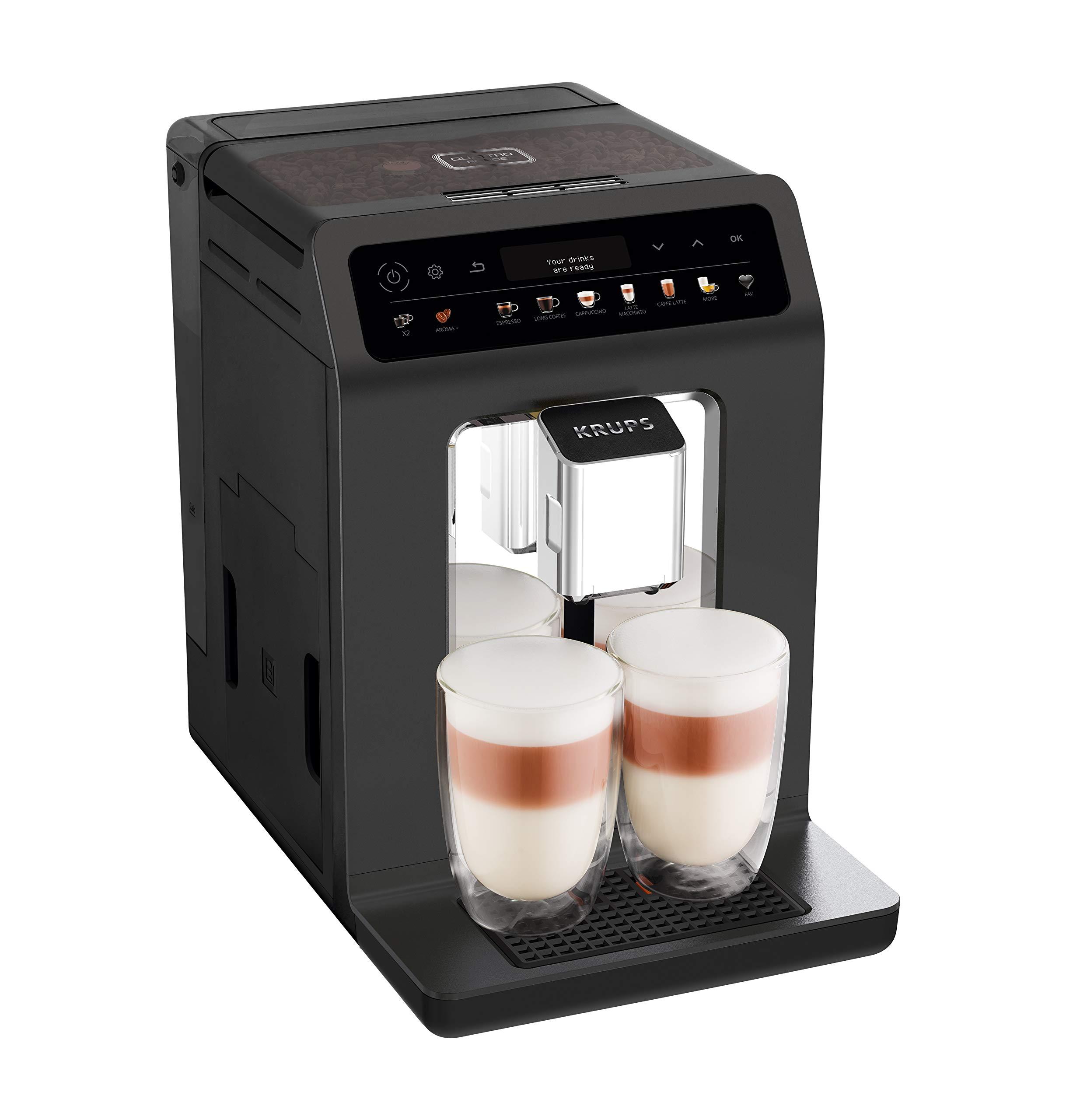 Krups-EA895N-Evidence-One-Kaffeevollautomat-1450-Watt-Doppel-Tassen-Funktion-One-Touch-Cappuccino-Bohnenbehlter-260-g-Wassertank-23-Liter-meteor-graphit