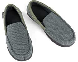 ULTRAIDEAS Men's Cozy Memory Foam Moccasin Slippers with Anti-Skid Indoor Rubber Sole, Breathable Lightweight Knitted Closed