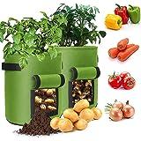 Potatis planteringspåse, växtpåse 10 galloner planteringsväska med fönster och handtag, grönsaker Grow Bag för potatis, tomat