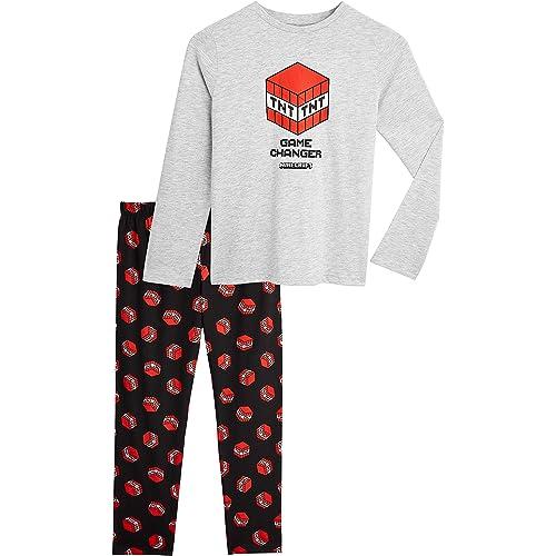 MINECRAFT Pigiama Bambino, Pigiami in Cotone con Magliette Creeper E TNT E Pantaloni Lunghi, Abbigliamento Bambino Merchandise Ufficiale 5-14 Anni, Idea Regalo