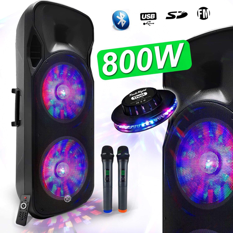 Enceinte Sono DJ PA Mobile Party Batterie Karaoké 2×15″ 800W USB/BT/SD/F RADIO FM + 2 Micros VHF Effet Friztal MyDJ BOXER-215LED-MAGIC + OVNI