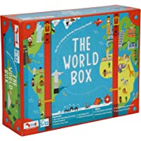 CocoMoco Kids World Box Activity Kit Geography Game - Includes World Map for Kids, Passport, Scrapbook, Country Trump…