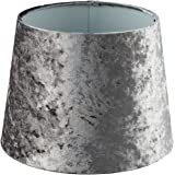 Modern Luxe Silver Velvet Tapered Lampshade Grey   Table Lamp or Ceiling Pendant Room Decor