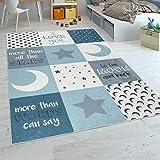 Paco Home Tapis Chambre Enfant Garçons Lavable Cœurs Étoiles Lune Inscription Bleu Gris, Dimension:80x150 cm