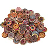 100pcs Wooden Buttons 25mm Round Shape Mixed Buttons Flower Buttons Handmade Sewing Buttons with Love Buttons for Sewing…
