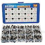 BOJACK 15 Valores 750 piezas A1015 C945 C1815 S8050 S9050 S9012 S9013 S9015 S9018 2N2222 2N3904 2N3906 2N5401 2N5551 PNP NPN
