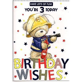 Birthday Card For Three 3 Year Old Boy