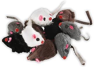 EBI Echtfell-Spielzeugmaus, ideale Beschäftigung für Katzen, Fellmäuse im Set, je 5 cm