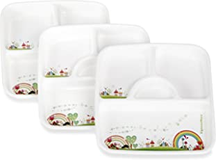 Signoraware Rainbow Square Plastic Thali Set, Set of 3, White