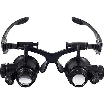 Babimax Loupe Agrandisseur Lunettes Loupe LED 10x 15x 20x 25x Magnifier  Double Oeil Lunette Grossissante Loupe b1de6c245cc4