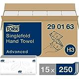 Tork Essuie-mains pliés en V Advanced - 290163 - Papier d'essuyage pour Distributeur H3 - Absorbant et indéchirable, grand, 2