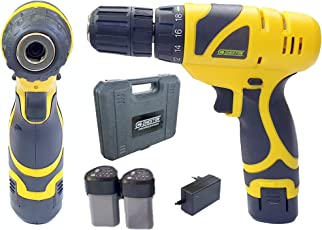 Cheston Cordless Drill Screwdriver Driver 10mm Keyless Chuck 12V with 2 batteries LED torch Variable Speed and Torque Setting (19+1) (Select models with bits combo) (1.5 AH BATTERY LASTS 1 HOUR, DRILL ONLY)