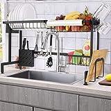 Himimi Égouttoir à vaisselle pour l'évier de cuisine 2 niveaux en acier inoxydable, Noir