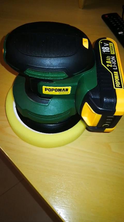 POPOMAN 13000 RPM in unora Caricatore Rapido Levigatrice Mouse a 18V Batteria Scatola Della Polvere MTW120B 2.0Ah Li-ion Batteria con finger pad senza attrezzi 12 Carte Abrasive