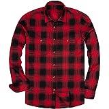 siliteelon Camisa casual de franela de manga larga para hombre