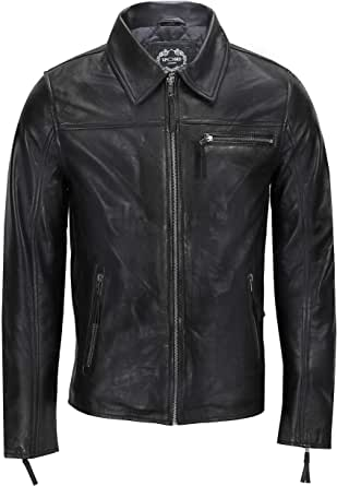 Mens Real Leather Jacket Classic Collar Retro Zip Up Biker Style Smart Casual Slim Fit