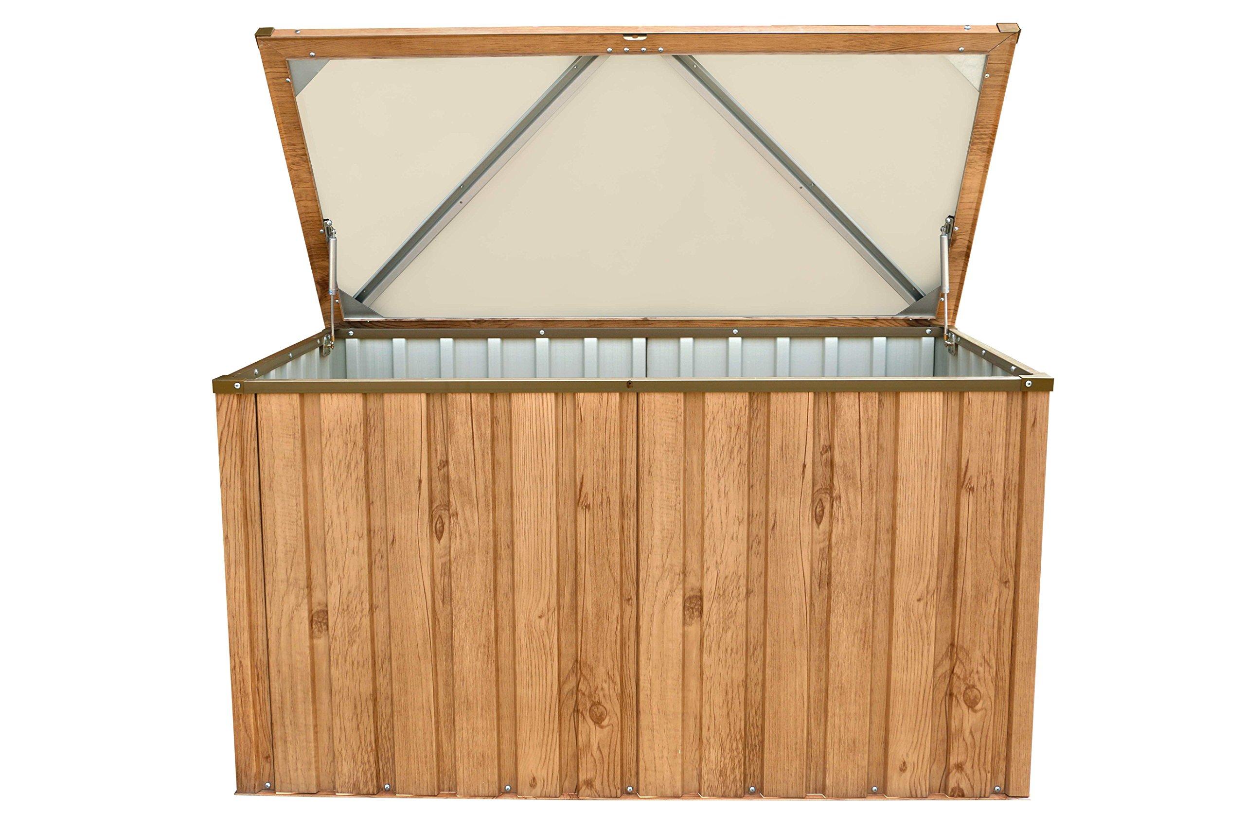 tepro Metall Geräte Garten Werkzeug Aufbewahrungsbox 590L braun inkl. Bodenplatte