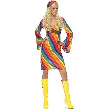 Smiffys Déguisement Femme Hippie Années 70, Robe et Bandeau, 70\u0027s Disco,  Serious Fun