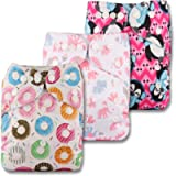 Littles & Bloomz, Reusable Pocket Cloth Nappy, Fastener: Popper, Set of 3, Patterns 301, with 3 Bamboo Inserts