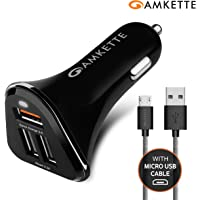Amkette Power Pro 3 Port USB Car Charger with Quick Charge 3.0 + Braided Micro USB Cable (Black)