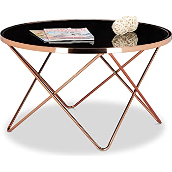 Prime Relaxdays Copper Side Table Made Of Copper And Black Glass Home Remodeling Inspirations Basidirectenergyitoicom