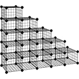 SONGMICS DIY schoenenrek, 15 kubusvormige opbergsystemen van metaaldraad, modulaire insteekplank, in elkaar grijpende schoeno