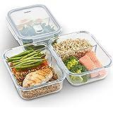 VonShef 3-er Set Glas-Frischhaltedosen mit Deckel – 2 Kammern – Lebensmittelbehälter aus Glas