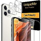 UniqueMe [2 Pezzi Pellicola Fotocamera per iPhone 11 PRO Max (6,5 Pollici) e [2 Pezzi] Vetro Temperato per iPhone 11 PRO Max (6,5 Pollici) Pellicola Protettiva Protezione [Protezione Completa]