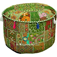 Bohemian Vintage Embroidered Pouf Ottoman Footstool Cover Indian Round Ottoman Stool Pouf Pillow, Ethnic Embroidered Pouf Cover, Indian Cotton Round Pouffe Ottoman Pouf Cover Pillow Ethnic Decor Art, 14x22 Inch. By Bhagyoday by BhagyodayFashions