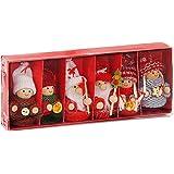 BRUBAKER - Suspensions pour Sapin de Noël - 6 Pièces - Lutins/Bonhommes tricotés - Figurines en Bois & Crochet - Décoration A