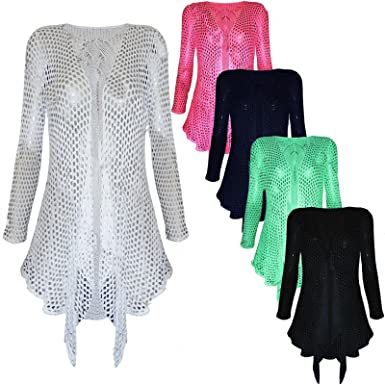 Womens Ladies Crochet Mesh Lace Leaf Waterfall Drape Long Cardigan ...
