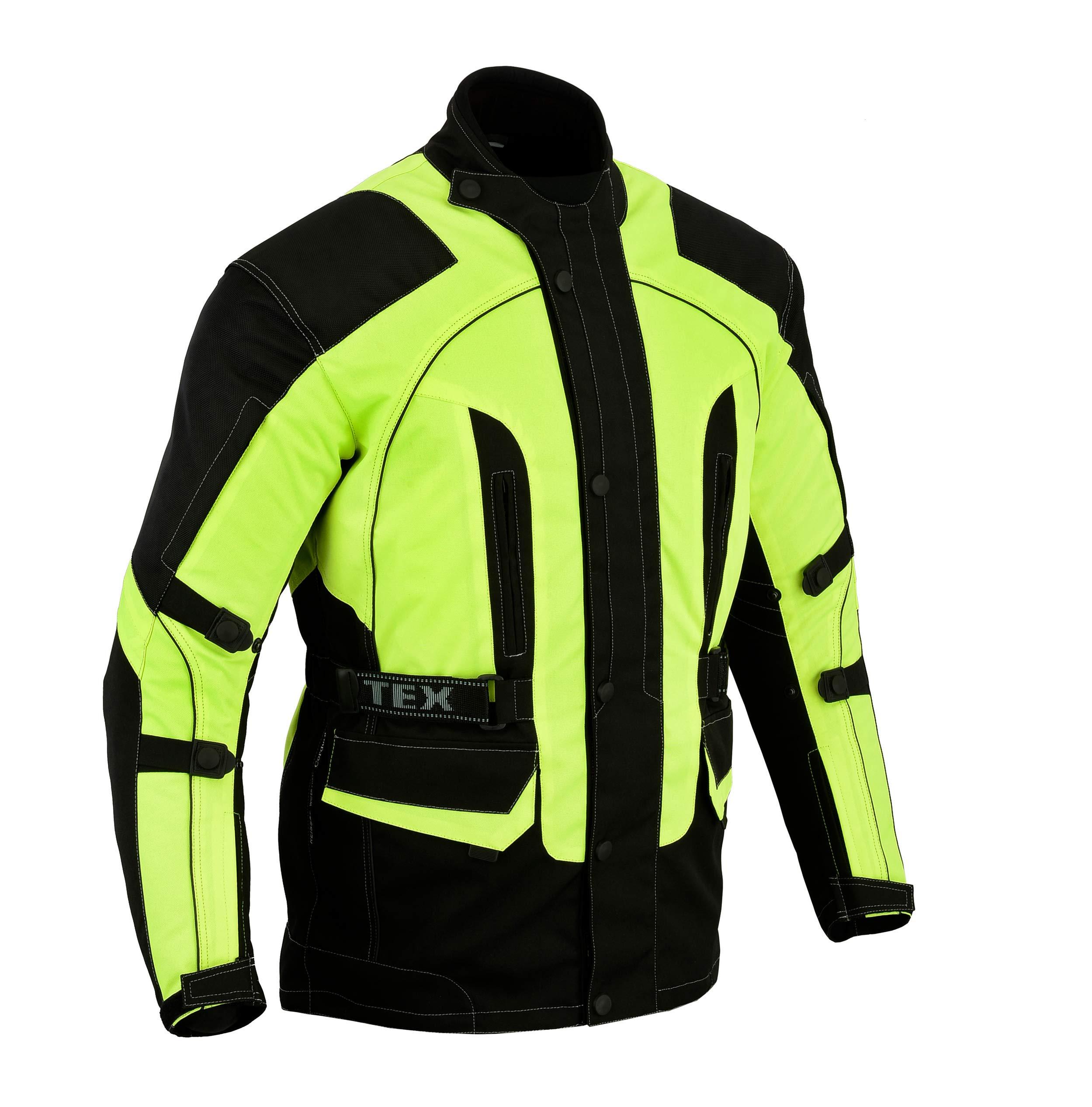 Mens Motorcycle Motorbike Textile CE Armoured Waterproof Trousers Pants Black//Fluro, W48 L32
