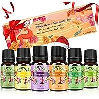 Oli Essenziali per Diffusori Top 6 Set - Aromaterapia Olio Essenziale Biologici Puri 100%, SPA, Massaggio, bagno…
