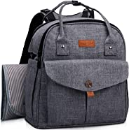 HapTim Baby Diaper Bag Backpack,Compact Baby Nappy Changing Bag(AE-Grey5319)