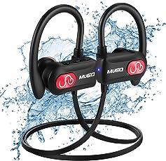 Cuffie Bluetooth IPX7 Impermeabile Auricolari Bluetooth, Cuffie wireless sport Cancellazione di Rumore, per Palestra e Nuoto, Con Microfono, Custodia per il Trasporto, 10 Ore di Gioco