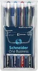 Schneider One Business Tintenroller (Dokumentenecht mit 0,6 mm Strichstärke und Ultra-Smooth-Spitze, Made in Germany) 4er Pack, schwarz, blau, rot, grün