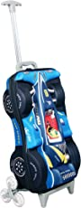 T-Bags Synthetic 3D Racing Car Blue Kid's Trolley Bag