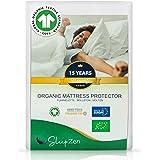 Coprimaterasso Organico Matrimoniale 160 x 200 cm - Certificato GOTS®️ e Oeko-TEX®️ - Tessuto 100% Pile di Cotone Naturale -