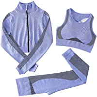 Jamron Donna Set di Abbigliamento Yoga Top Corto+Ghette 2 Pezzi Tuta Sportiva Palestra Fitness Activewear