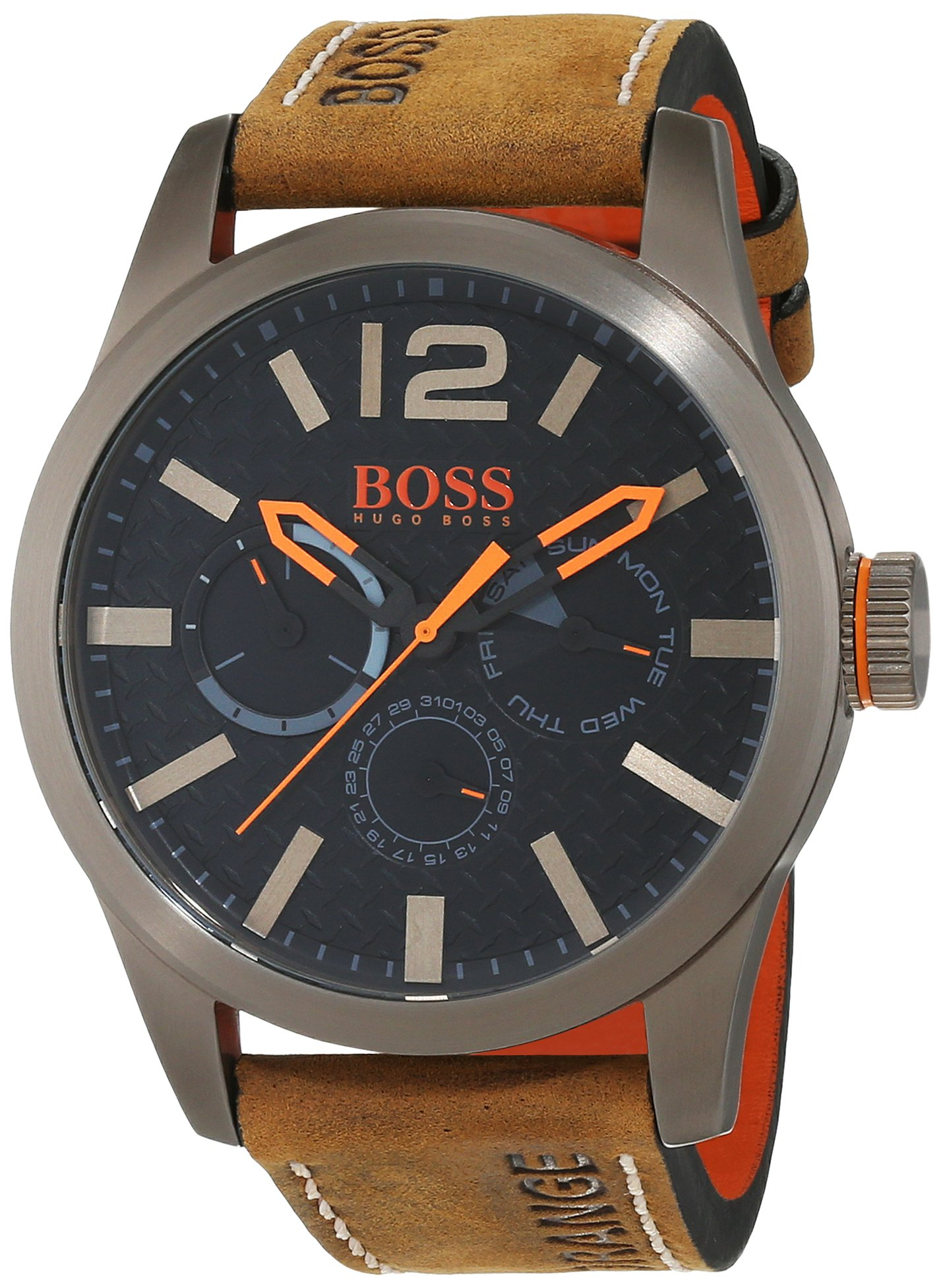 Hugo Boss Orange Paris Herren-Armbanduhr Quartz mit braunem Leder Armband 1513240 6
