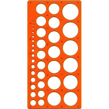 Pochoir Maped Technic M277620 pour cercles de diamètre 1 à 35mm, orange