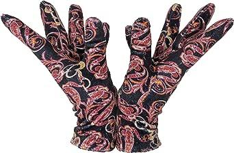Sebeto Un paio di Guanti Moda Donna Eleganti Invernali e Caldi in Velour di Poliester Taglia Unica fondo nero fantasia cashmere rosa Made in Italy Total Vegan