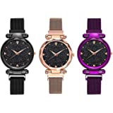 (K.D ENTERPRISE - LIVE EVERY SECOND Analogue Women's Watch (Black Dial Assorted Colored Strap) (Pack of 3)