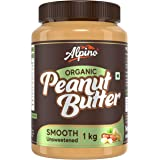 Alpino Organic Natural Peanut Butter Smooth 1 KG | Unsweetened | Made with 100% Roasted Organic Peanuts | 30% Protein | No Ad