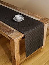 S9home by Seasons 6 Seater Geometrical Coal Table Runner 72x12 inch