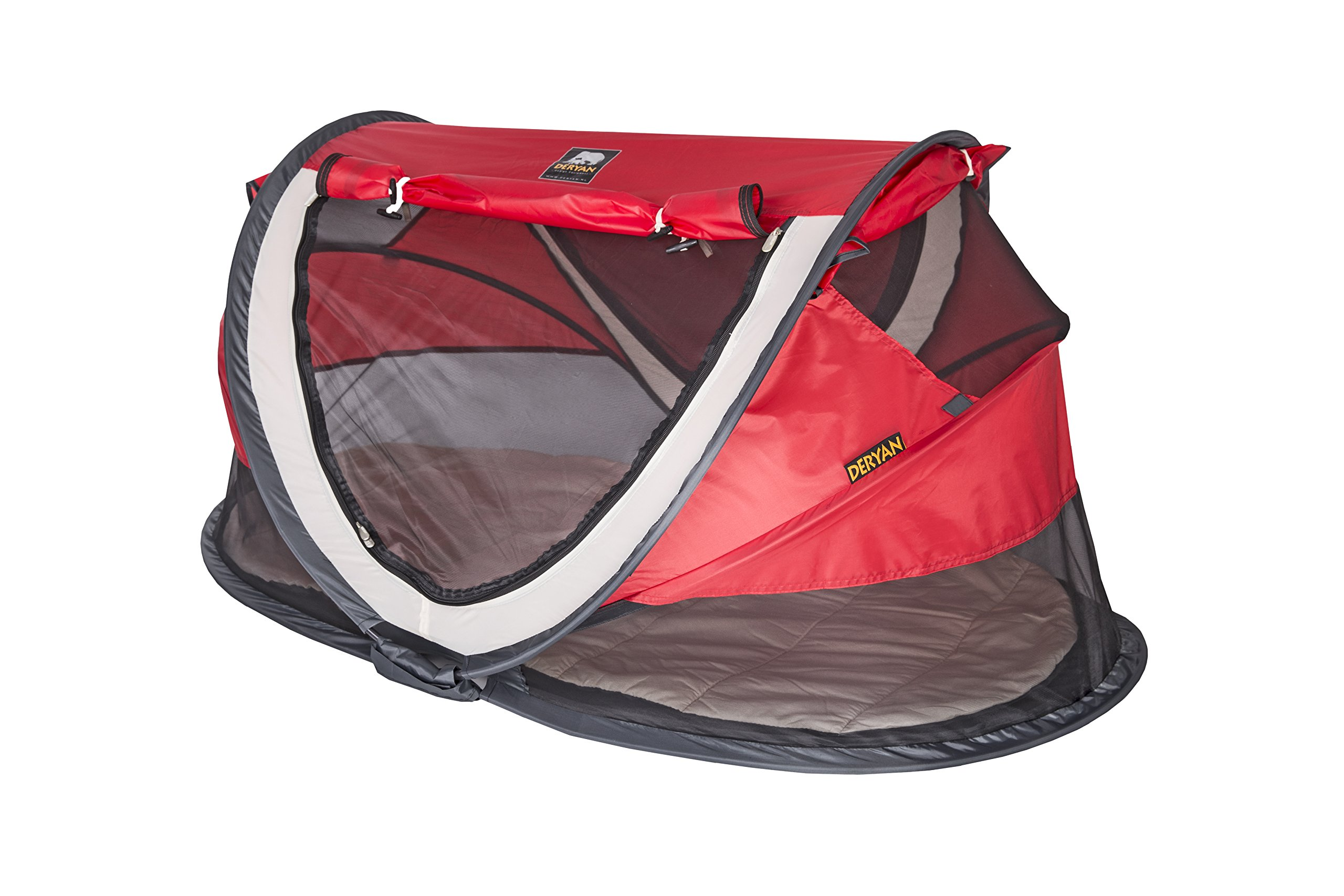 Travel Cot Peuter Luxe (Red) Deryan Perfect for the beach, the park or the back garden for playing in or for naps Can Pops up immediately, no poles or fiddly frames to put together. Lightweight and compact in its zip up bag 3